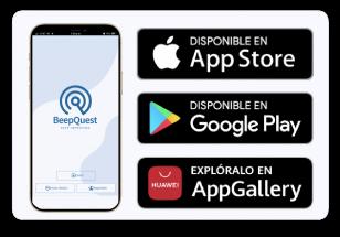 Tu equipo descarga BeepQuest Mobile y accede con su usuario a su instancia operativa única (Play Store, App Store, App Gallery).