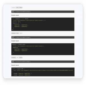 Open and friendly documentation with examples in different programming languages.