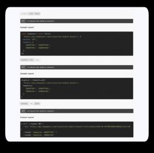 Documentación abierta y amigable con ejemplos en diferentes lenguajes de programación.