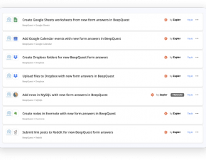 BeepQuest is part of the Zapier family of solutions to give you code-free integration capabilities.